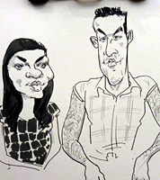 wedding guest live caricature drawing, shropshire and west midlands