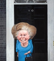 politcal cartoon of margaret thatcher by caricaturist jonathan cusick