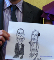 live caricature drawing, warwick, west midlands wedding
