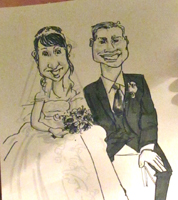 wedding caricaturist drawing
