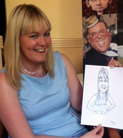 wedding guest caricature drawing