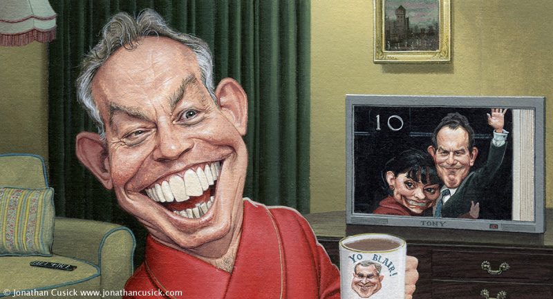 caricature of former prime minister tony blair for the times newspaper