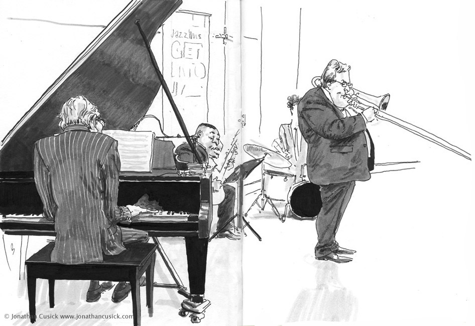 caricature sketchbook drawing of jazz quartet