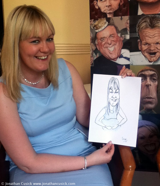 Wedding Guest caricature drawing by live caricaturist
