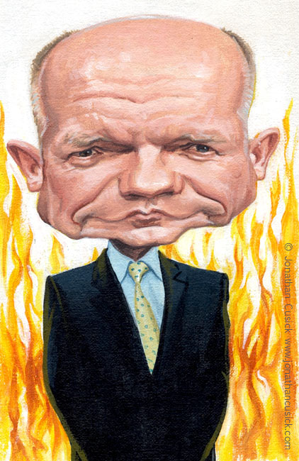 caricature of william hague, foreign secretary by caricaturist and political cartoonist jonathan cusick. political cartoon for the spectator magazine