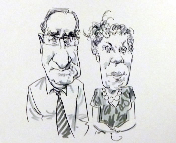 wedding guest live caricature drawing in oen and ink, by caricaturist Jonathan Cusick in Worcestershire