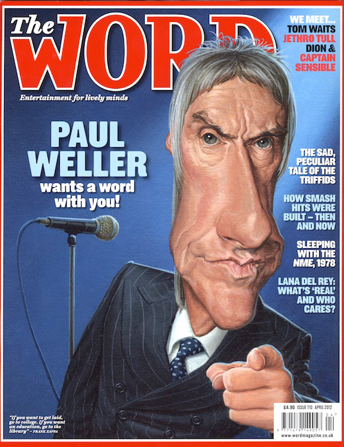 caricature of modfather paul weller for cover of word  magazine by jonathan cusick
